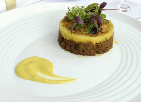 Indian Shepherd's Pie with Cheddar & Coriander Crumble, served with Korma Sauce