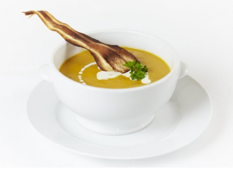 Cream of Butternut Squash Soup with Parsnip Fritter